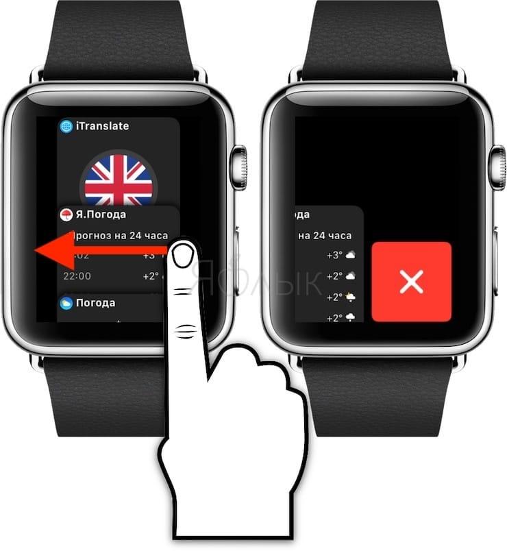 Док панель на Apple Watch