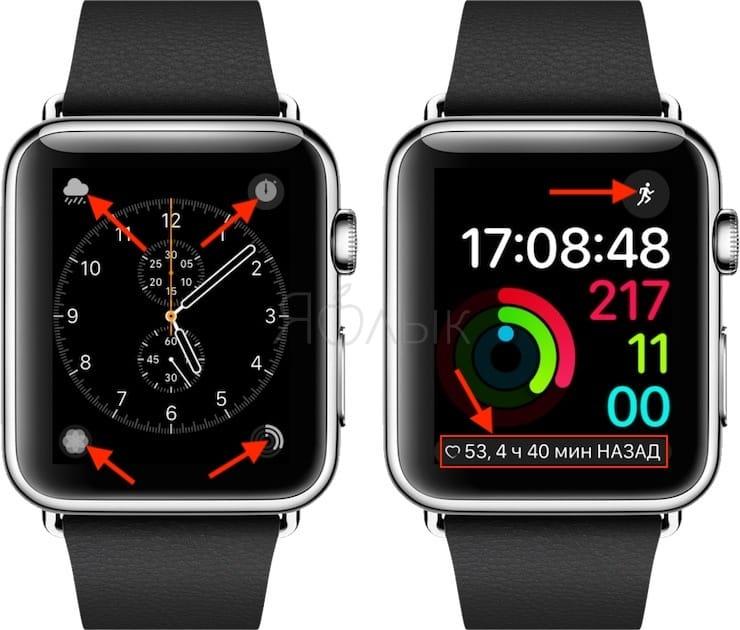 Изменять и добавлять необходимые расширения на циферблаты на Apple Watch