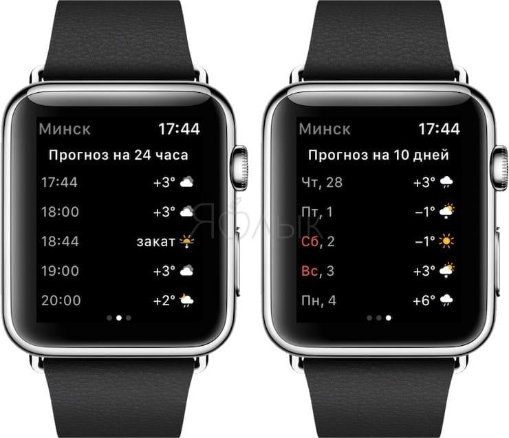 Погода на Apple Watch