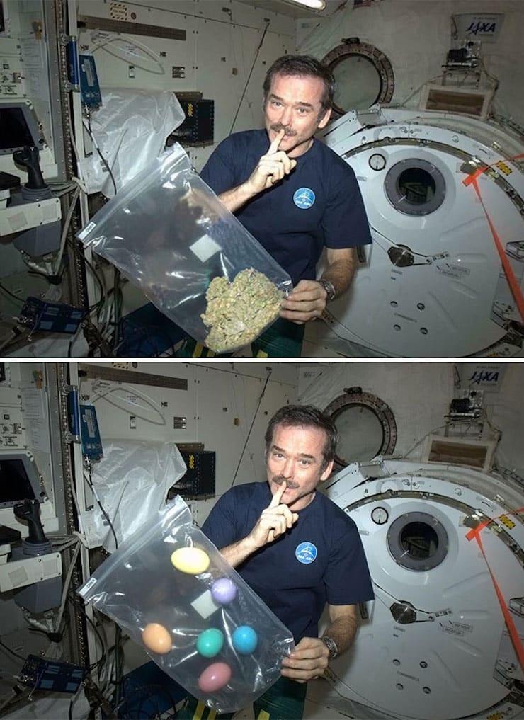 Курящий марихуану в космосе астронавт