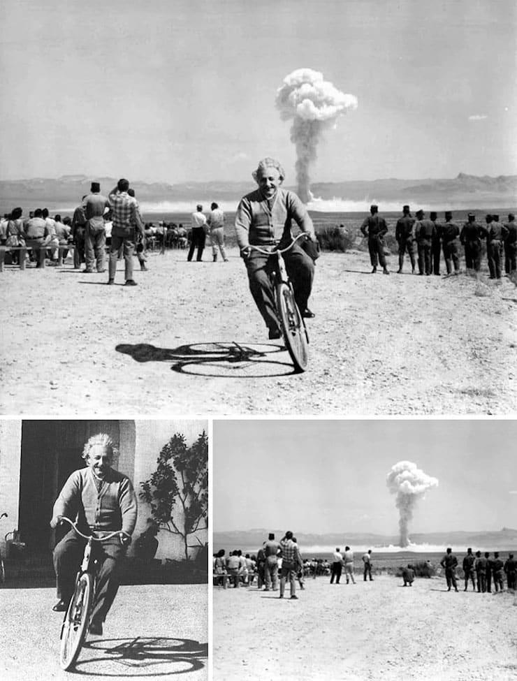 Эйнштейн едет на велосипеде на фоне взрывающейся атомной бомбы