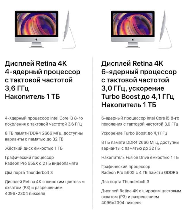 Модели 21,5-дюймового iMac