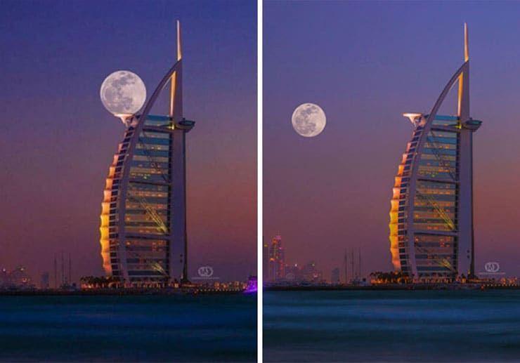Идеально вписанная в небоскреб Луна