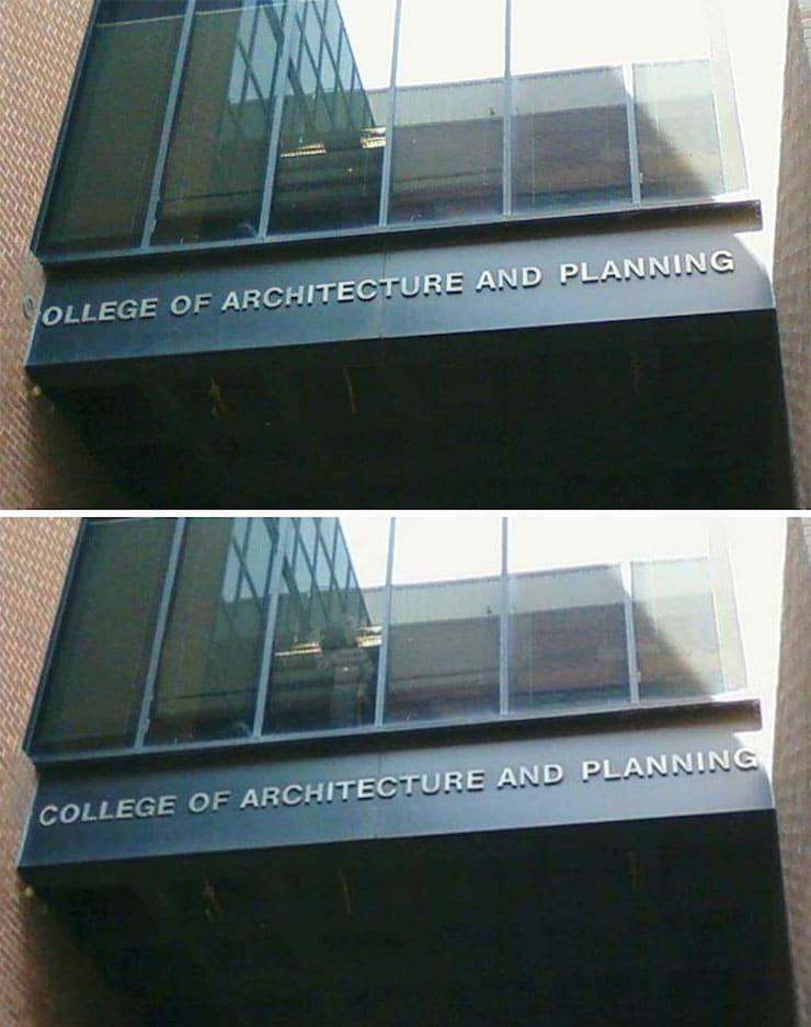 Сдвинутое на стену название колледжа Архитектуры и планирования