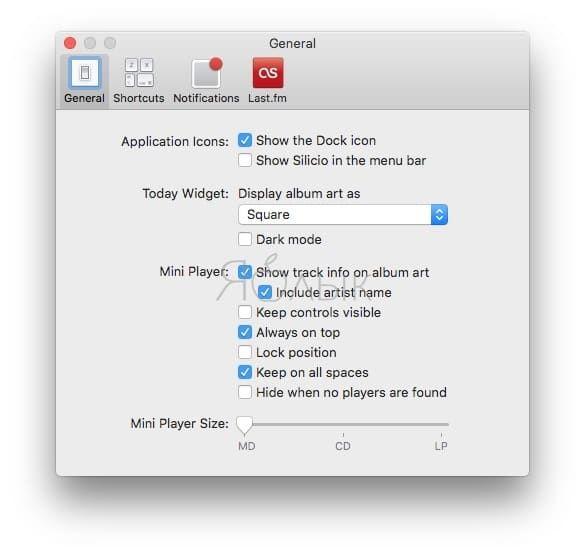 Silicio – продвинутый мини-плеер в строке меню macOS