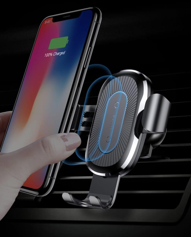 Автомобильное беспроводное зарядное устройствоBaseus с держателем (Quick Charge) – версия 1