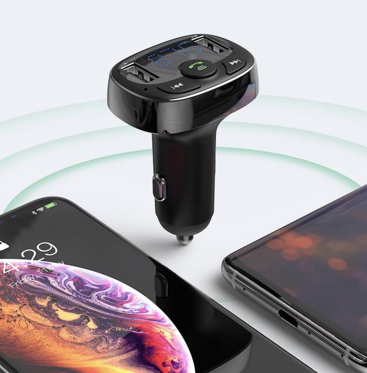 Автомобильное зарядное Baseus (FM-Трансмиттер, прием звонков, MP3-плеер, ЖК-дисплей, 2×USB)