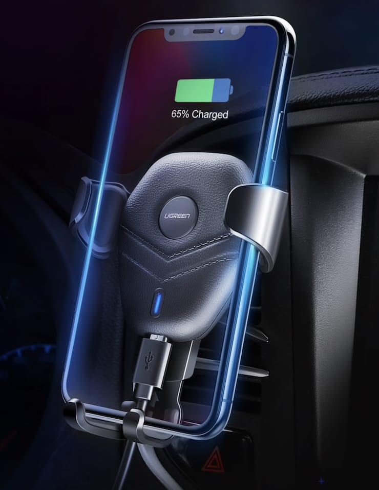 Автомобильное беспроводное зарядное устройство Ugreen с держателем (Quick Charge)