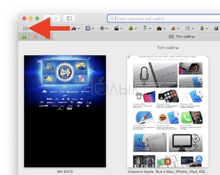 Как открыть страницу Топ-сайты с наиболее часто посещаемыми веб-сайтами в Safari