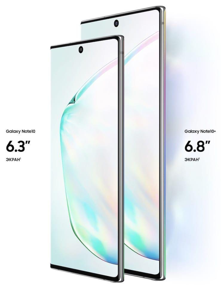 Сравнение дисплеев Samsung Galaxy Note 10 и Galaxy Note 10 Plus