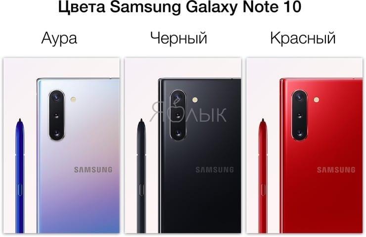 Цвета Samsung Galaxy Note 10 и Galaxy Note 10 Plus