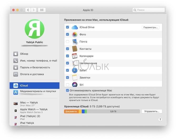 Раздел Apple ID в macOS