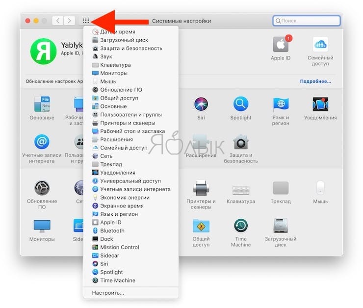 Поиск в Системных настройках в macOS