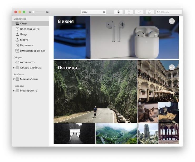 Приложение Фото в macOS