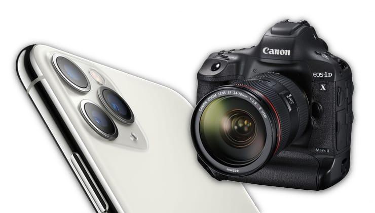 Сравнение фото с камеры iPhone 11 Pro и зеркальной фотокамеры Canon 1DX Mark II