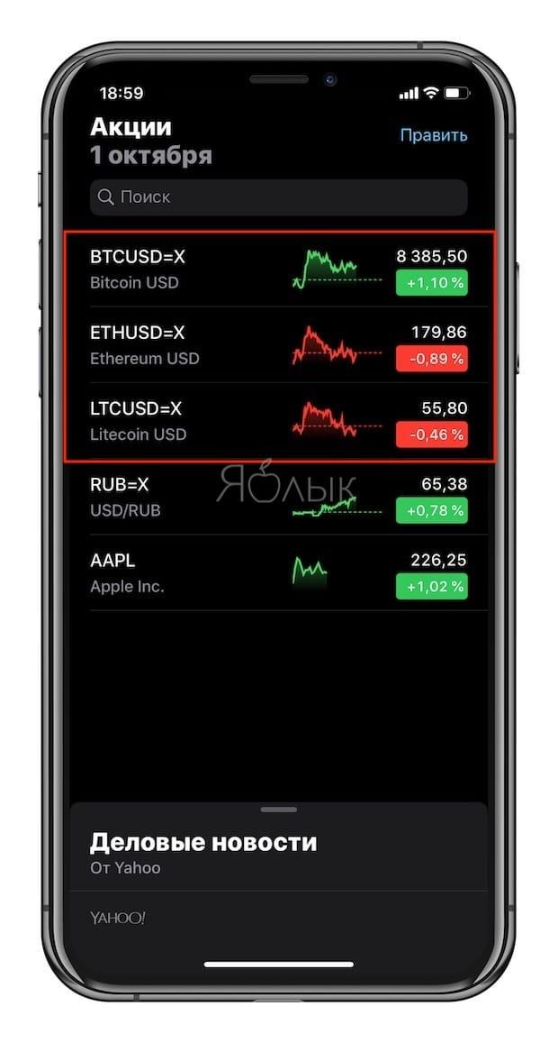 Как смотреть курсы Bitcoin, Ethereum и Litecoin в приложении Акции на iPhone и iPad