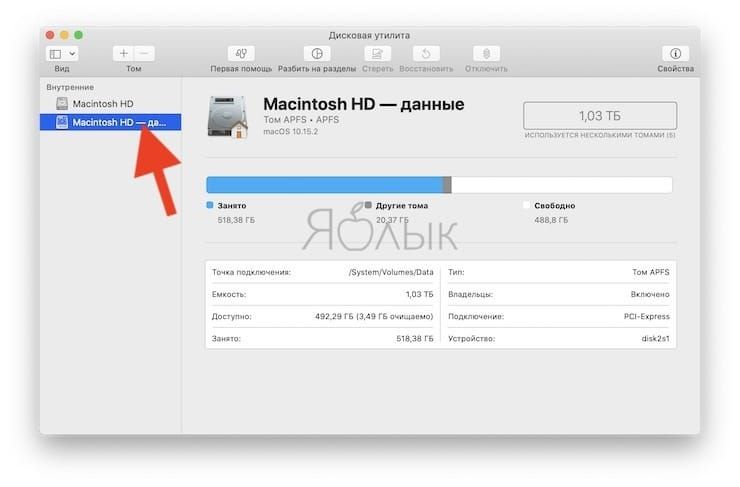 Как проверить доступный объем хранилища (внутренней памяти) Mac с помощью «Дисковой утилиты»