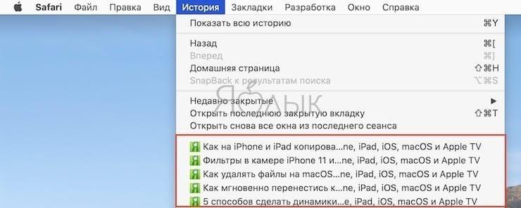 Как открыть закрытые вкладки в Safari на Mac