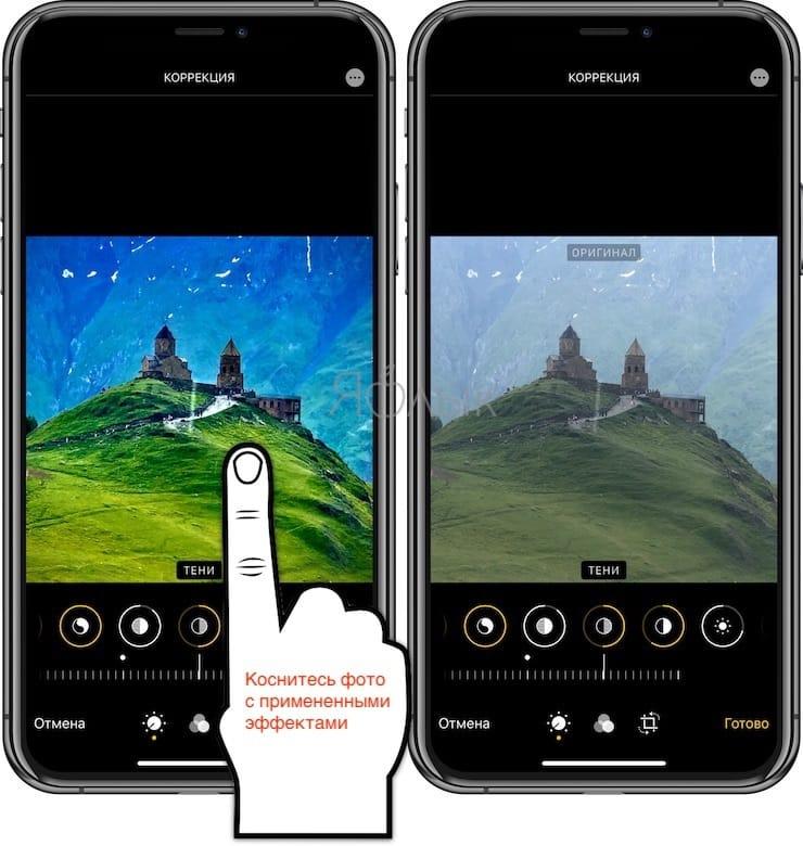 Как сравнить обработанное фото и оригинал на iPhone или iPad в приложении Фото