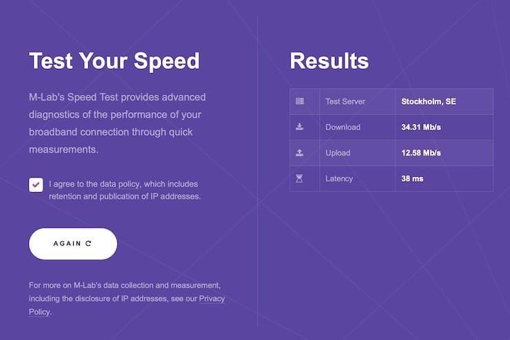 Measurement Lab (M-Lab) — cервис для проверки скорости интернета от Google
