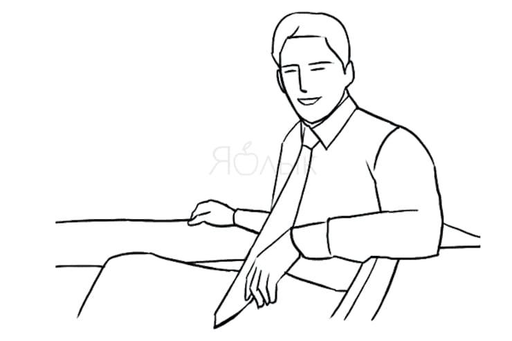 Вполоборота на стуле