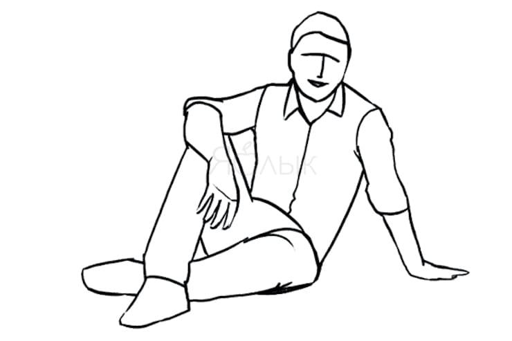 Сидя на земле без опоры