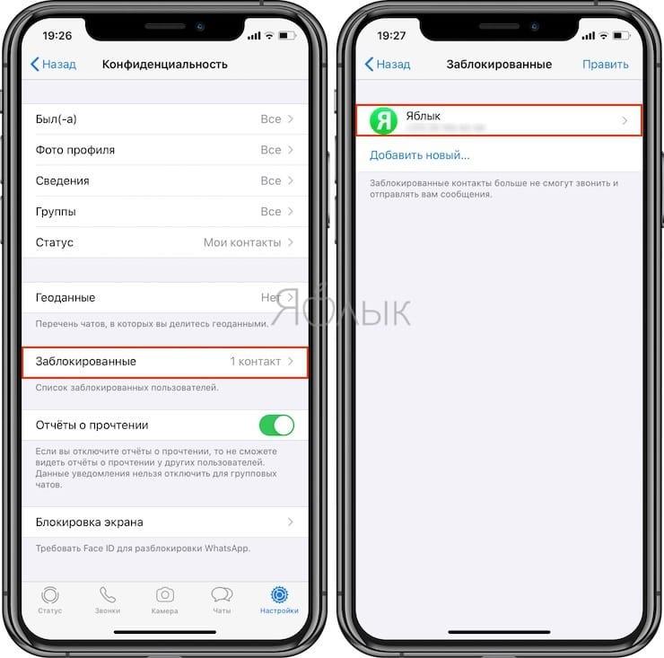 Как заблокировать номер абонента в WhatsApp для iPhone?