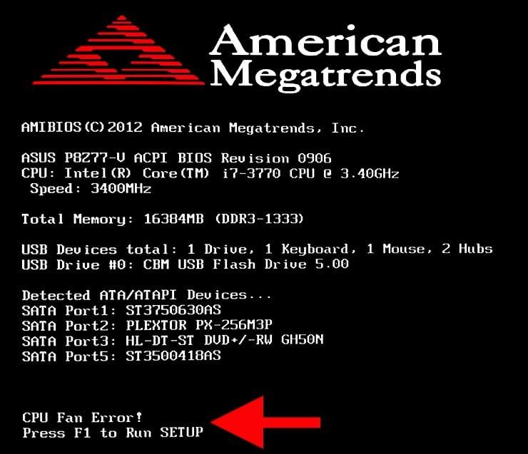 Что означает ошибка «CPU Fan Error! Press F1»