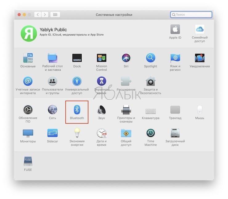 раздел Bluetooth в Системных настройках macOS