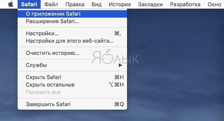 Как проверить версию Safari
