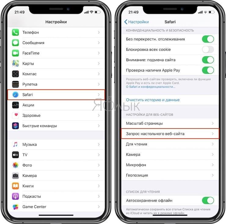 Как включить полную версию сайта на iPhone и iPad
