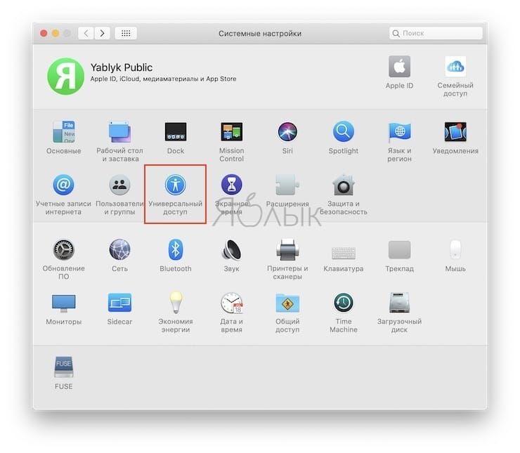 Универсальный доступ на Mac