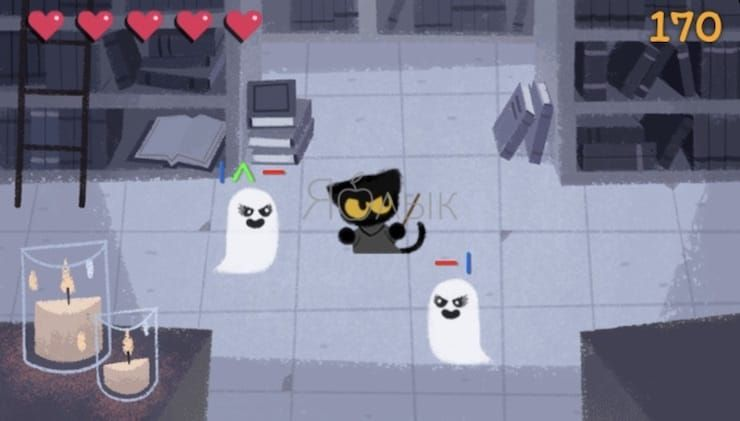 Игра Spooky Cat в Google