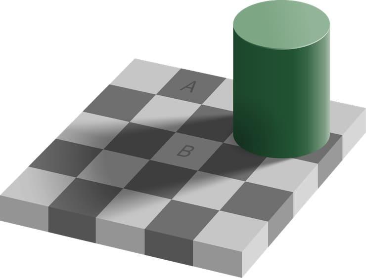 оптическая иллюзия с цветом квадратов
