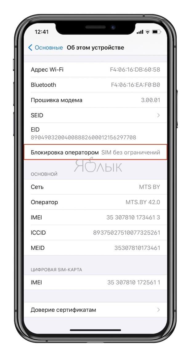Как проверить залочен iPhone или нет (привязан ли к мобильному оператору)?