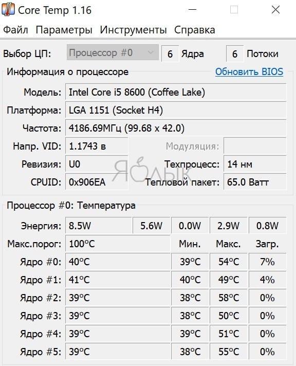 Программы для проверки температуры процессора в Windows