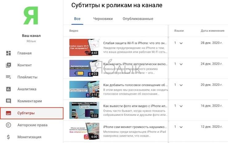 Как добавлять, редактировать переводить на другие языки автоматические субтитры в YouTube