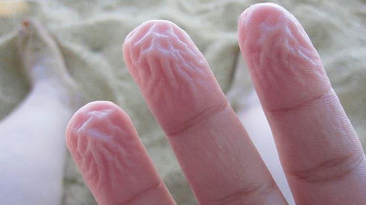 Сморщенные от теплой воды пальцы