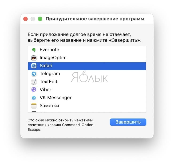 «Принудительное завершение программ» на Mac