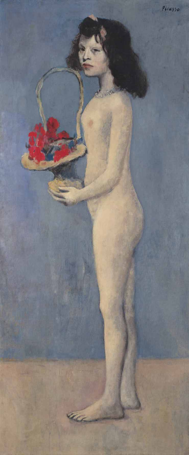 Молодая девушка с цветочной корзиной, Пабло Пикассо
