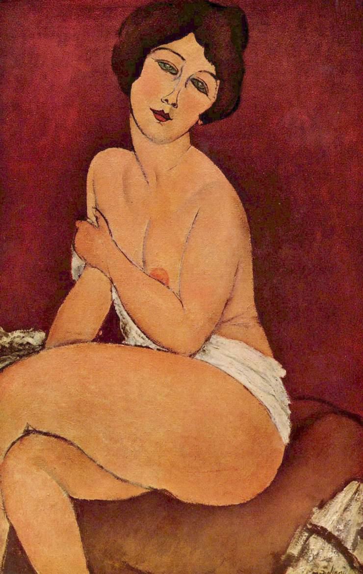 Обнажённая, сидящая на диване, Амедео Модильяни