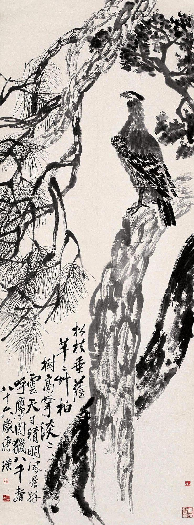 Орёл, сидящий на сосне, Ци Байши