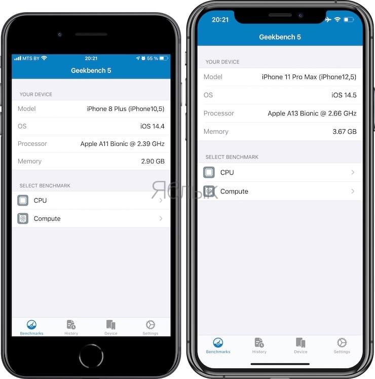Geekbench 5 – приложение для измерения производительности iPhone и iPad