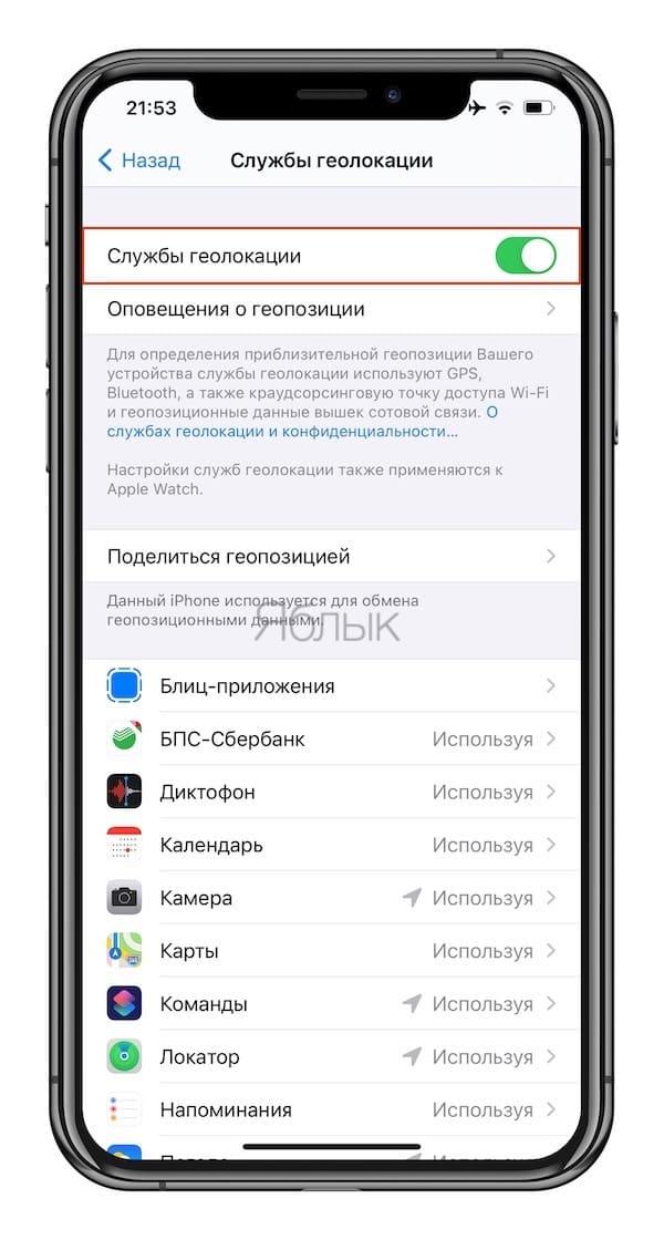 Геолокация на iPhone