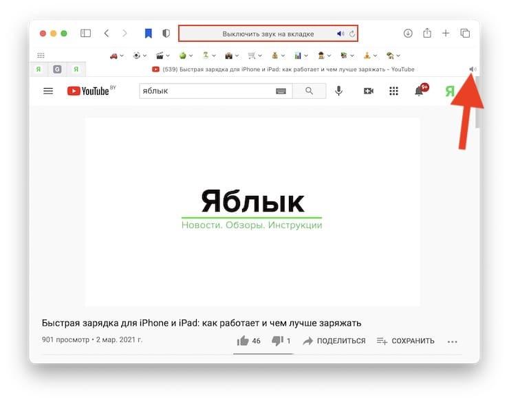 Как отключить или включить звук во вкладках Safari на Mac (macOS)