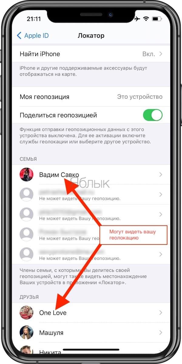 Как делиться геолокацией на iPhone