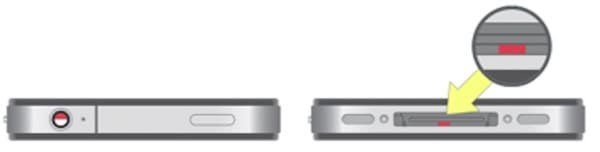Где находится датчик влаги (воды) на iPhone 4 / 4s