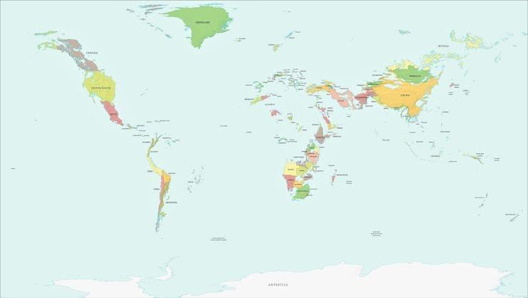 Карта мира с увеличением уровня Мирового океана на 1000 метров