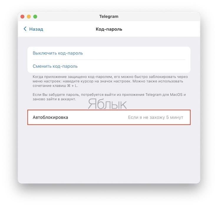 Как защитить паролем сообщения Telegram на Mac?