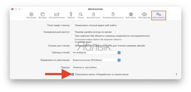 Как открыть меню Разработка (консоль разработчика) в Safari на Mac